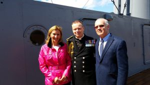 Pat Avery on HMS Caroline on May 29th 2016 where Songs of Praise was filmed.