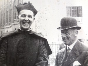 Father Jellicoe his uncle, Lord Jellicoe, Admiral of the fleet, the 1st Earl of Scapa. sSeen here on a visit to St. Mary's Flts, Drummond Crescent. The Admiral had alaid the foundation stone in 1928.