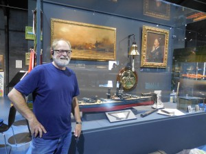 Gert Normann Andersen putting the finishing touches to the exhibits at the Sea War museum, Thyborøn Denmark.