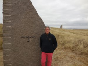 Nick Jellicoe, visiting the stone commemorating the loss of HMS Indefatigable at the start of the battle of Jutland, at 16:02 on 31.5. 16.