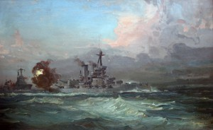 Iron Duke opening fire at Jutland. By Leslie Arthur Wilcox. Private Collection