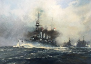 HMS Southampton at Jutland. Frank H Mason 1876-1965. Private Collection.