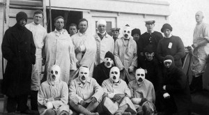 Burn victims from HMS Tiger after the Battle of Jutland. On board the hospital ship, HMHS Plassey. Courtey of the National Museumof the Royal Navy, 1990_296_27.